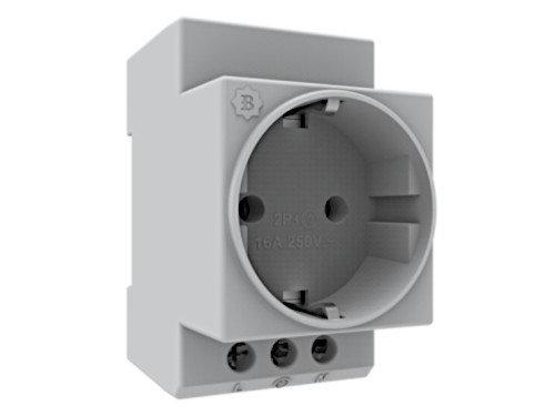 Einbausteckdose Hutschiene Verteilereinbau Zählerschrank Steckdose 16A 230V