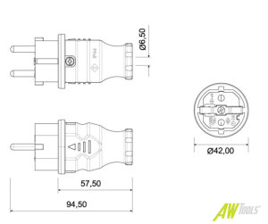 Schuko Stecker Schutzkontakt Vollgummi gelb IP44 250V 16A 2P+E