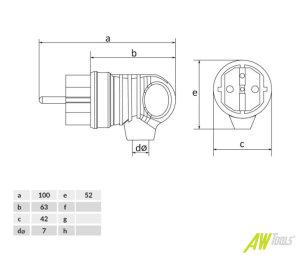 UPS Schuko Schutzkontakt Gummi Winkelstecker IP44 16A 250V grün mit Griff