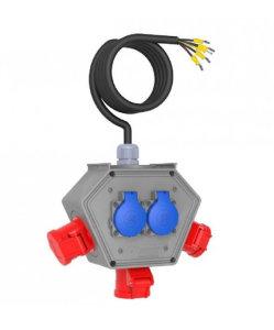 Stromampel Energieampel 3xCEE16A/400V + 2x230V/16A Schuko Baustromverteiler Stromverteiler Energiewürfel