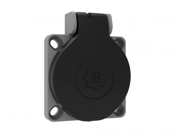 Anschluss-Steckdose Schalttafelsteckdose Anschlussgerätesteckdose schwarz 16A 250V 3-polig IP44 horizontaler Eingang