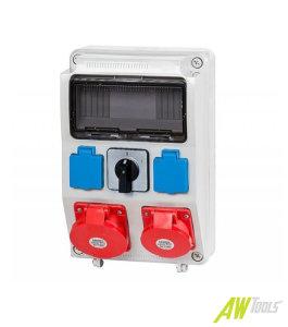 Baustromverteiler / Wandverteiler 2 x 230V/16A & 2 x CEE32A/400V Hauptschalter verdrahtet o. Sicherung