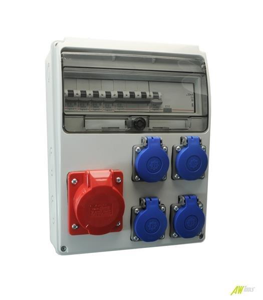 Baustromverteiler / Wandverteiler 4 x 230V/16A Schuko + 1 x CEE16A/400V + LEGRAND LS + FI