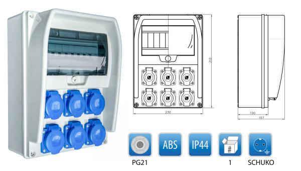 Baustromverteiler Wandverteiler 6 x 230V/16A Schuko verdrahtet + LEGRAND LS + FI