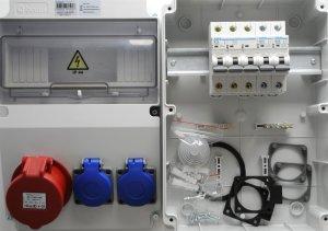 Baustromverteiler Wandverteiler 2 x 230V/16A Schuko + CEE16A/400V IP44 + LS
