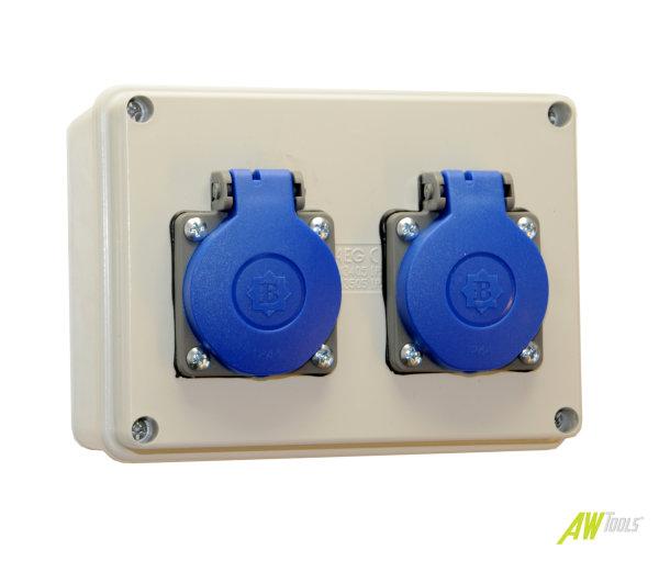 Baustromverteiler / Wandverteiler 2 x 230V/16A Schuko verdrahtet
