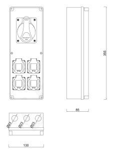 Baustromverteiler / Wandverteiler 4 x 230V/16A & 1 x CEE 32A verdrahtet