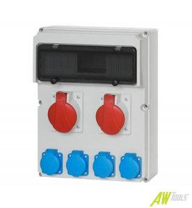 Baustromverteiler / Wandverteiler 4 x 230V/16A & 1 x CEE 16A & 1 x CEE 32A verdrahtet