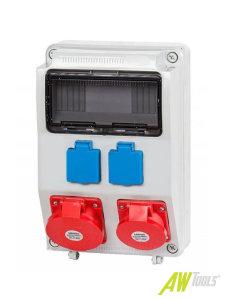 Baustromverteiler / Wandverteiler 2 x 230V/16A Schuko & 1 x CEE 16A & 1 x CEE 32A verdrahtet o. Sicherung