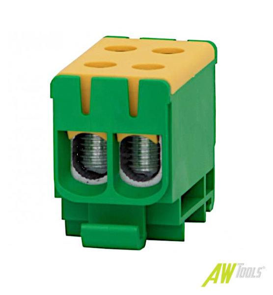 PE-Doppel-Durchgangsklemme 2-fach 2,5-50mm², 4 Anschlüsse, Doppel-Reihenklemme Din-Schiene Hutschiene Starkstrom