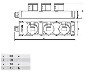 CEE Mehrfachsteckdose 3 x32A / 400V Steckdosenleiste IP67