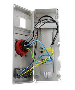 Baustromverteiler Wandverteiler 1 x CEE 32A +  2 x 230 V Schuko verdrahtet IP44 o. Sicherung
