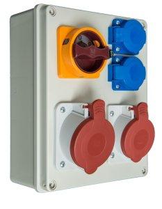 schaltbarer Baustromverteiler  1 x CEE 32A  1 x CEE16A  2 x 230 V verdrahtet